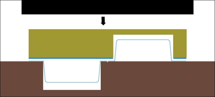 クラムシェルパッケージのように片側が凹、片側が凸になっている形状は、凸がつぶれないように抜板を工夫して抜く。