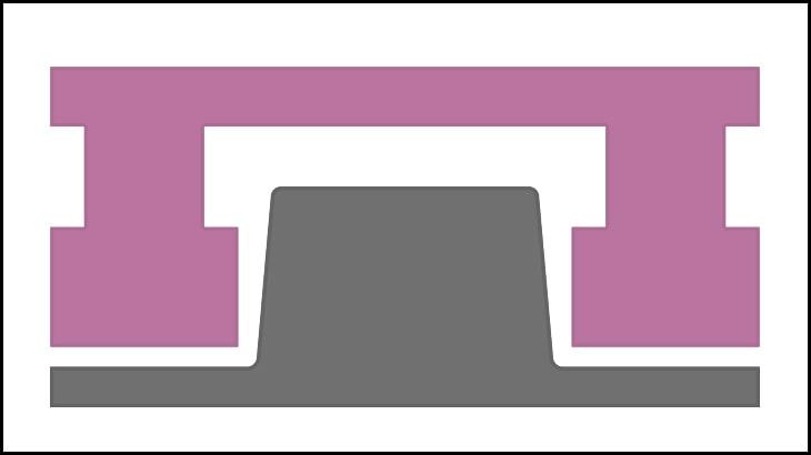 凸型のプラグのイメージです。凸部分がくり抜かれています。