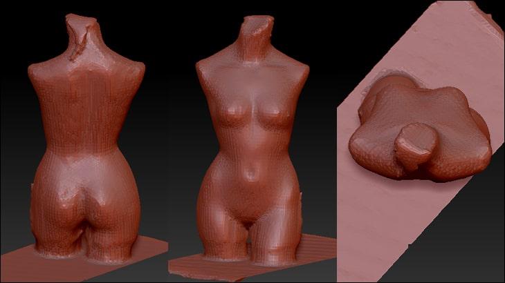 マネキンから身体の形状データーを取った.3002SENSE3Dではやはり粗い。