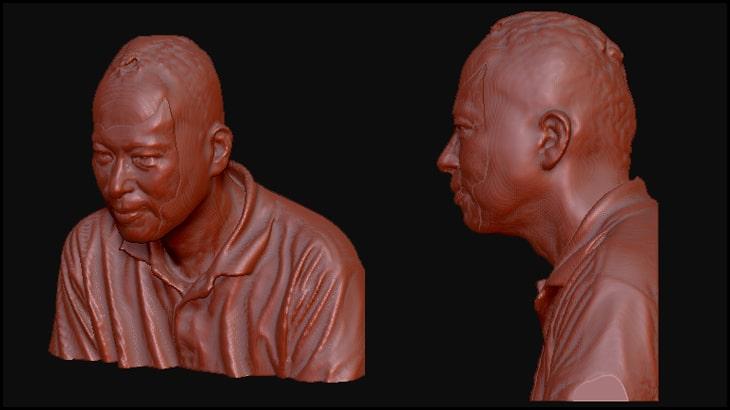 sense3Dの体にArtec Evaの顔をはめこんでみました。斜めから見た姿と横顔