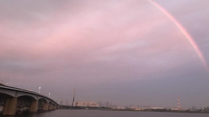 10月5日荒川湾岸橋にかかる虹