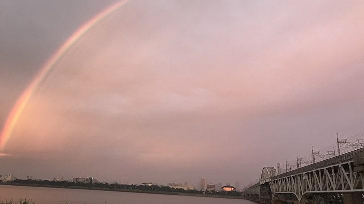 10月5日JR京葉線にかかる虹