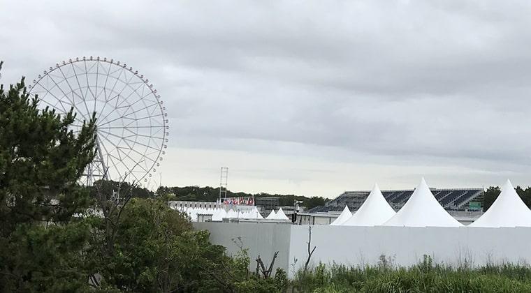2021年7月オリンピックカヌースラローム会場には各国の国旗が掲揚されています